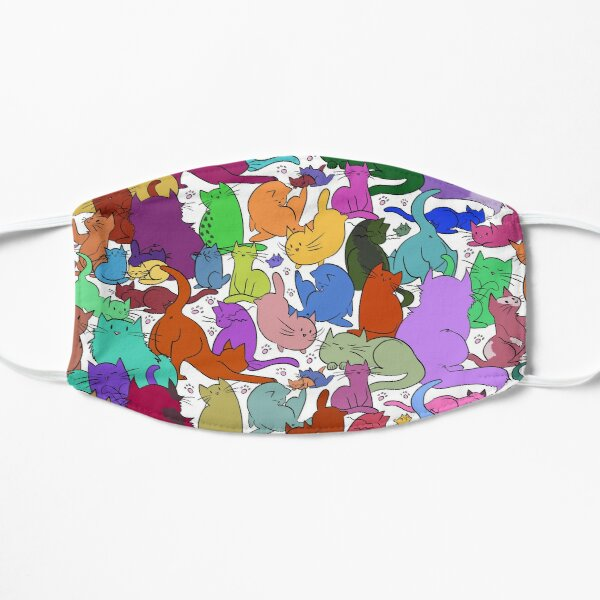 A Rainbow of Cats Flat Mask
