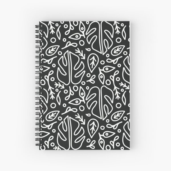 Simple Houseplant Outline Pattern - Black & White Spiral Notebook