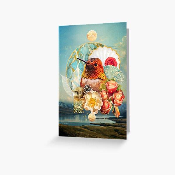 Festive Feathers: Rufous Hummingbird Greeting Card