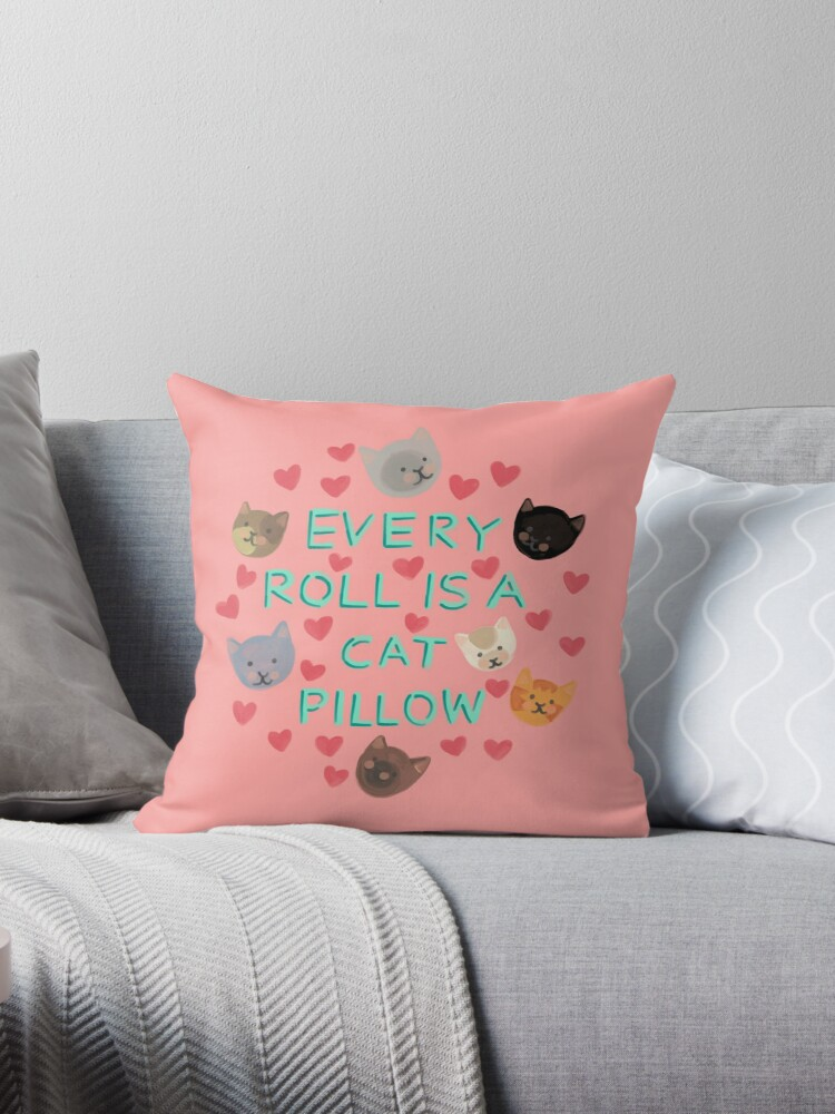 Pleasant Every Roll Is A Cat Pillow Throw Pillow By Rachele Cateyes Machost Co Dining Chair Design Ideas Machostcouk