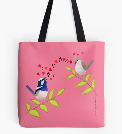 Adorable Blue Wren Birds Love Song Tote Bag