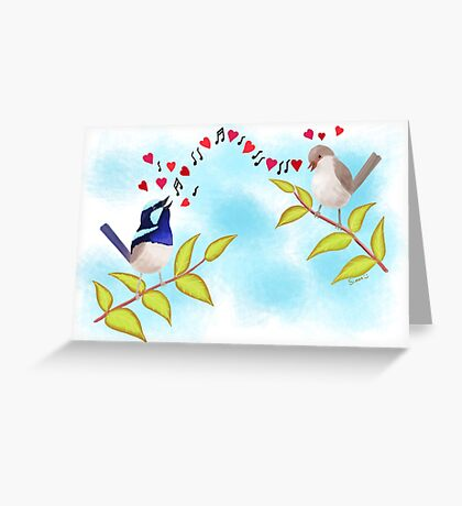 Adorable Blue Wren Birds Love Song Greeting Card