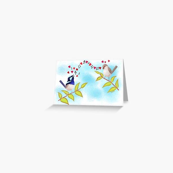 Adorable Blue Wren Birds Love Song Greeting Card