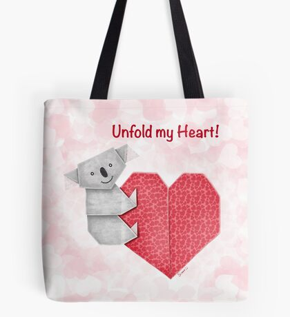 Unfold My Heart! Cuddly Koala and Heart Origami Tote Bag