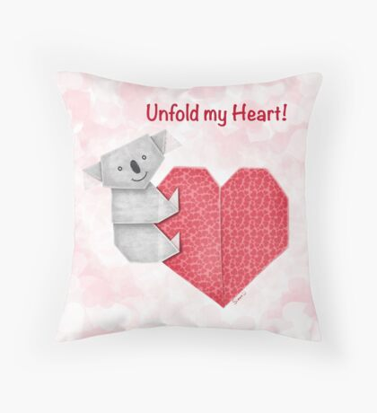 Unfold My Heart! Cuddly Koala and Heart Origami Throw Pillow