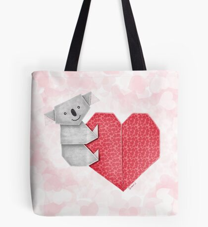 Cuddly Koala and Heart Origami Tote Bag