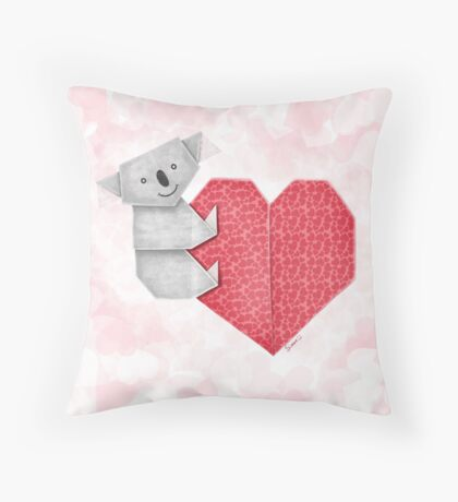Cuddly Koala and Heart Origami Throw Pillow
