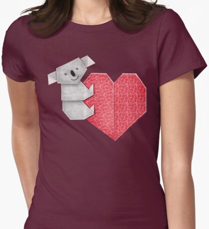 Cuddly Koala and Heart Origami T-Shirt