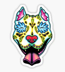 Slobbering Pit Bull - Day of the Dead Sugar Skull Pitbull Dog Sticker