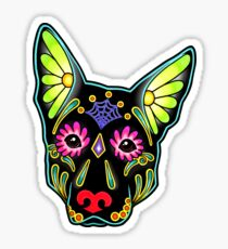 Day of the Dead German Shepherd in Black Sugar Skull Dog Sticker