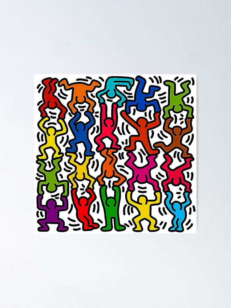 Alternate view of Keith Haring Stick Figure Acrobats Poster