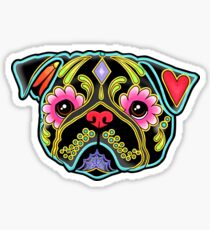 Day of the Dead Pug in Black Sugar Skull Dog Sticker