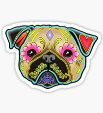 Day of the Dead Pug in Fawn Sugar Skull Dog Sticker