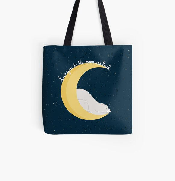 """Ours Lune """"Love you to the moon and back"""" Tote bag doublé"""
