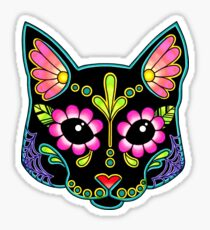 Day of the Dead Cat in Black Sugar Skull Kitty Sticker