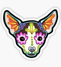 Tag der toten Chihuahua in Moo Sugar Skull Dog Sticker