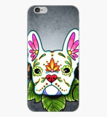 Day of the Dead French Bulldog in White Sugar Skull Dog iPhone Case