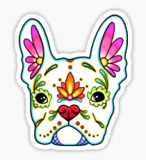 Day of the Dead French Bulldog in White Sugar Skull Dog Sticker