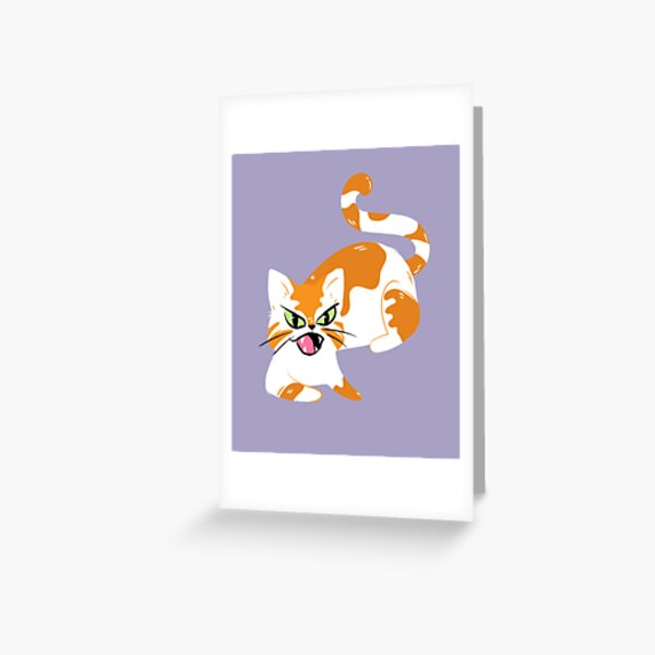 Angry and cute ginger cat with green eyes Greeting Card