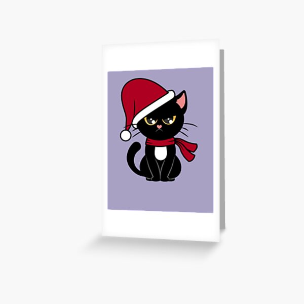 Grumpy Christmas Black Cat Greeting Card