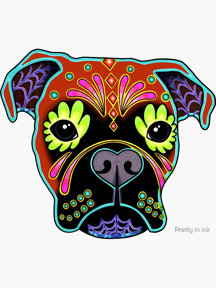 Boxer in Fawn - Day of the Dead Sugar Skull Dog by prettyinink