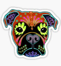 Boxer in Fawn - Day of the Dead Sugar Skull Dog Sticker