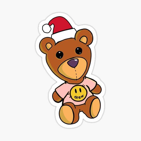Oso Bieber, feliz Navidad, oso dibujado Pegatina