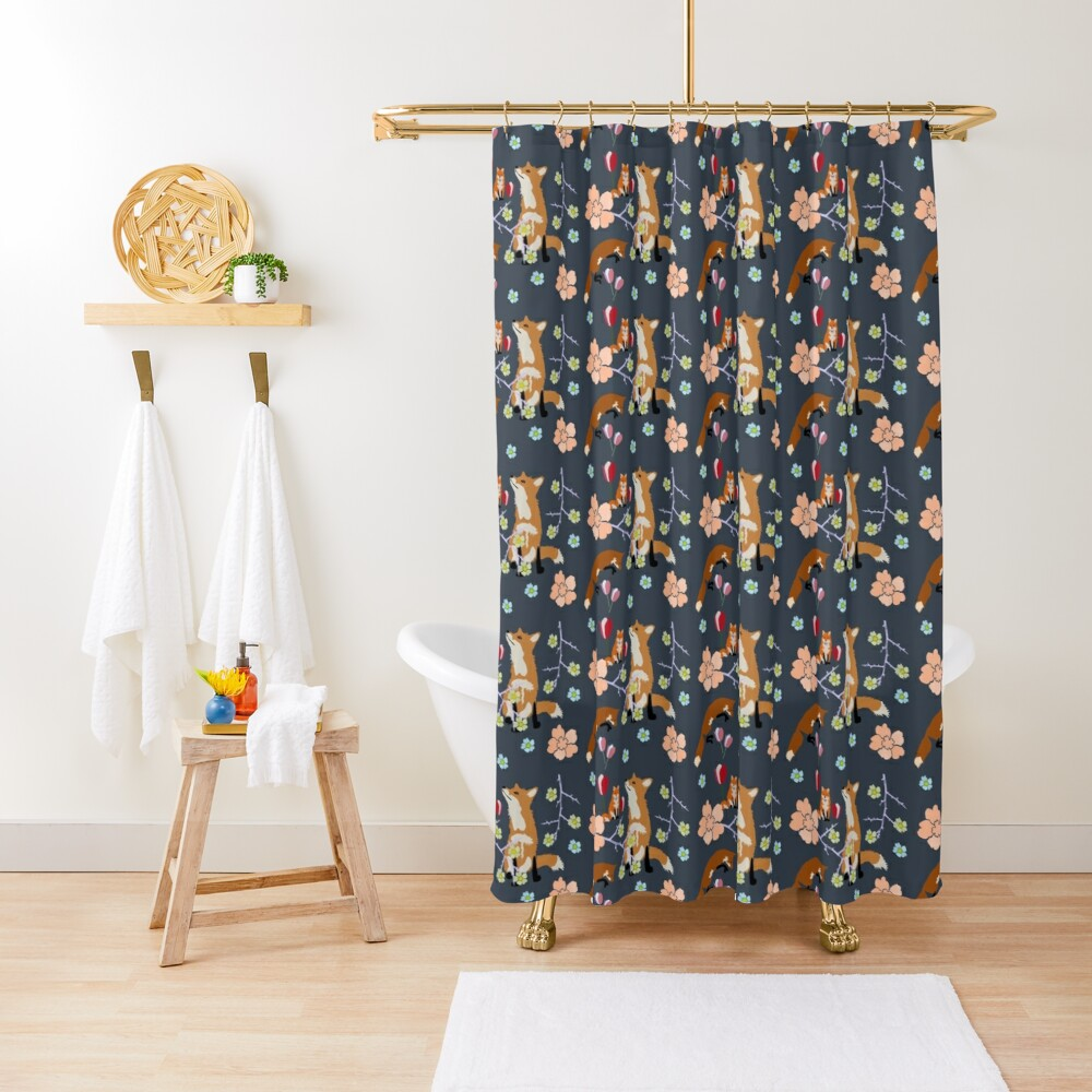 Fox in flowers Shower Curtain