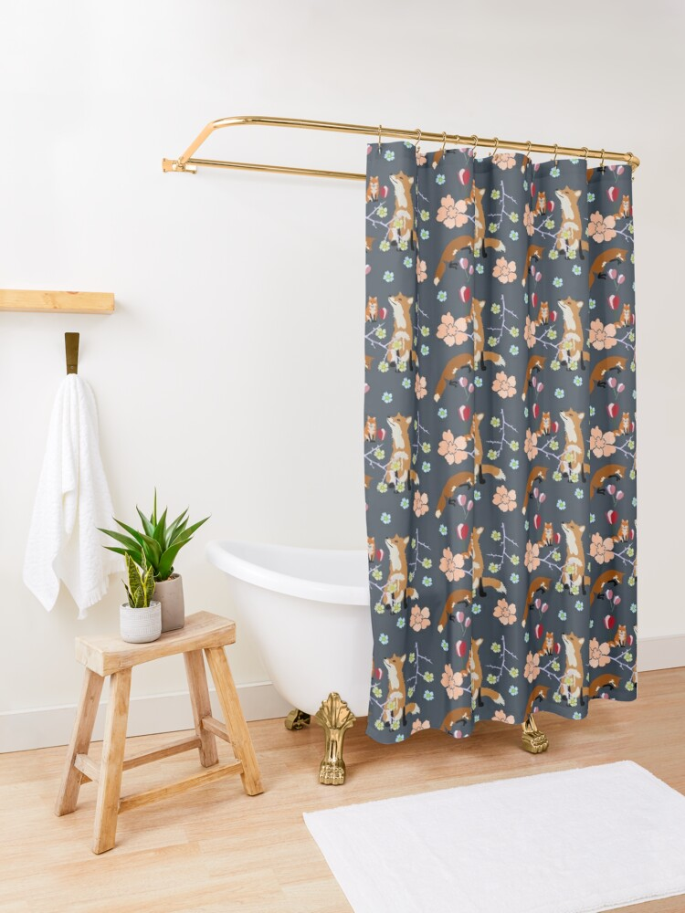 Alternate view of Fox in flowers Shower Curtain