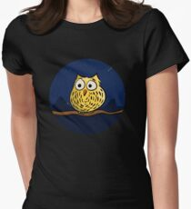 Cute owl at night Womens Fitted T-Shirt
