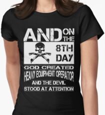 Arm Vector Cold Tower Background heavy equipment operators  Bolt  Womens Fitted T-Shirt