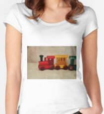 A little Wooden Train Women's Fitted Scoop T-Shirt