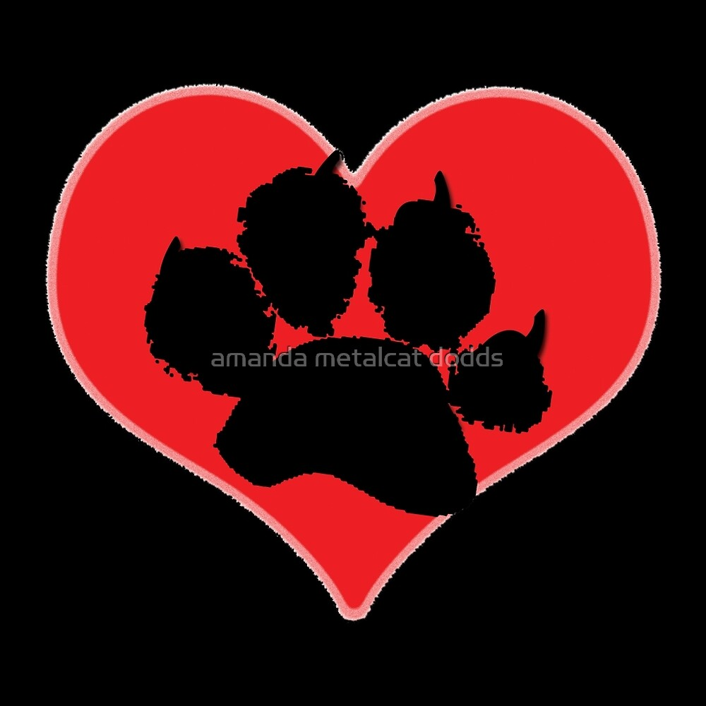Paw Print Heart 2: Red and Black by amanda metalcat dodds