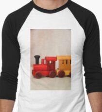 A cute little wooden train Men's Baseball ¾ T-Shirt
