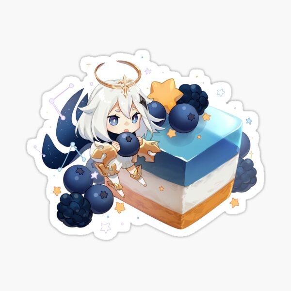 Genshin Impact Chibi Paimon Blueberry Cheesecake Sticker