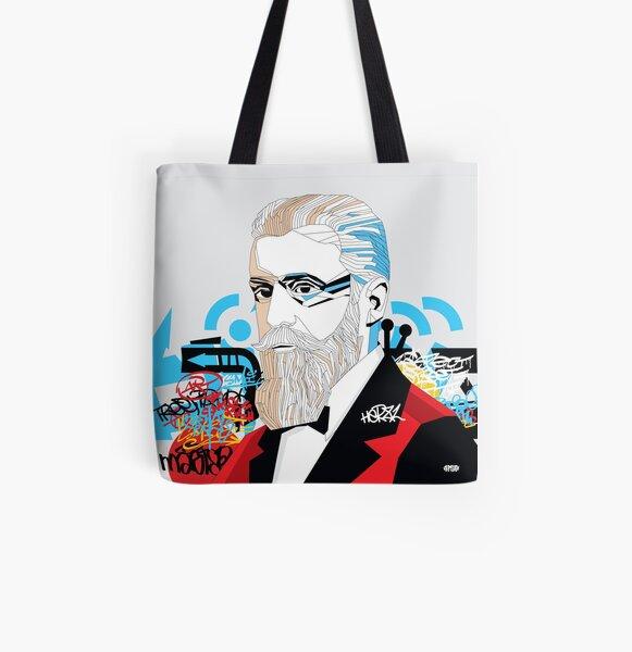 Theodor Herzl portrait  - Pop Art Israeli leader All Over Print Tote Bag