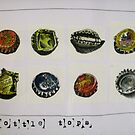8 bottle tops by Evelyn Bach