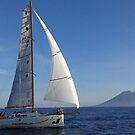 ASPETTANDO LA REGATA DI MALTA - Pegasus akilaria 950 - sullo sfondo lo Stromboli - by Guendalyn