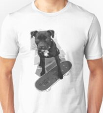 SK8 Staffy Dog black and white T-Shirt