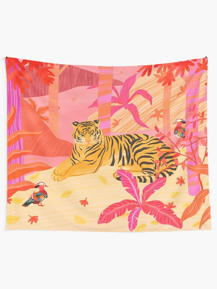 Alternate view of Tiger and Mandarin Ducks Tapestry