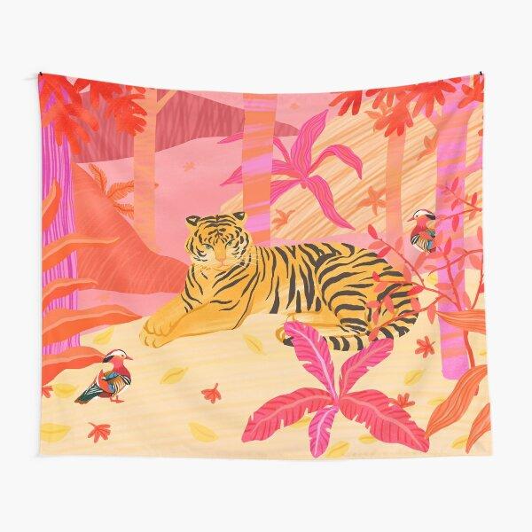 Tiger and Mandarin Ducks Tapestry