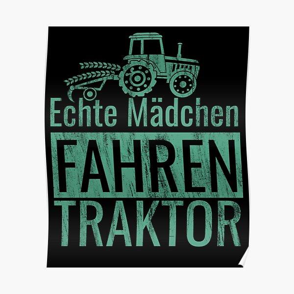 Echte Mädchen Fahren Traktor Poster