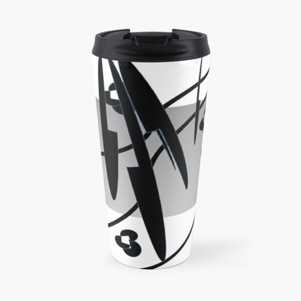 Petals and Leaves Black and White Travel Mug
