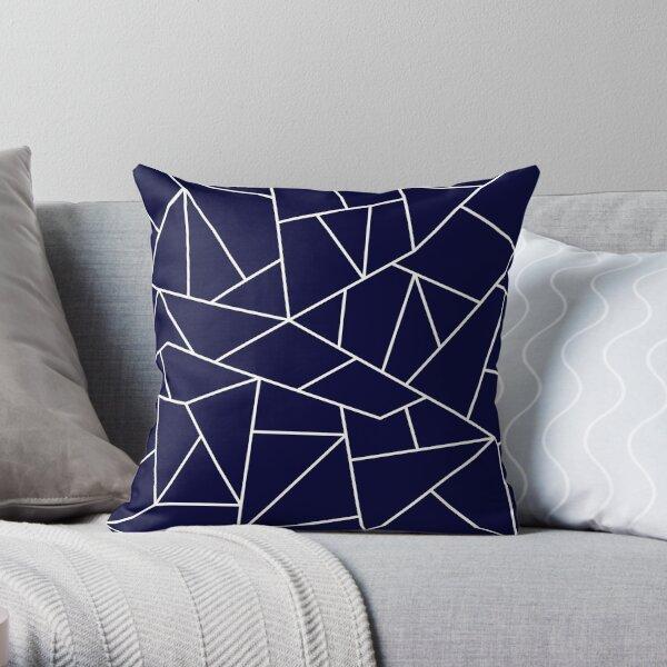 Navy Blue Mosaic Lines Throw Pillow