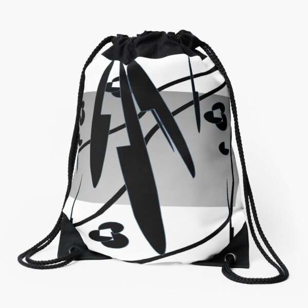 Petals and Leaves Black and White Drawstring Bag