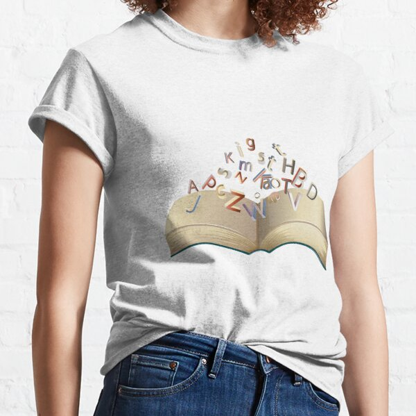 Alphabet Growing From Book Sticker Classic T-Shirt