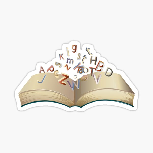 Alphabet Growing From Book Sticker Sticker