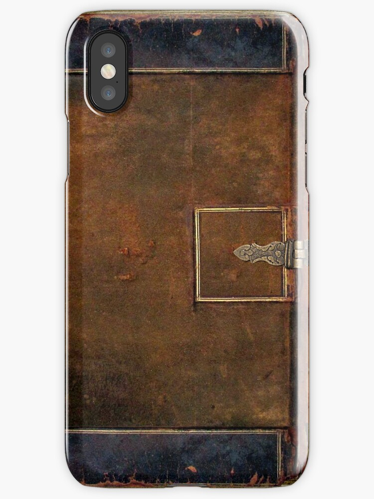 Old Leather Book Iphone Cover : Quot old worn leather book cover design iphone cases skins