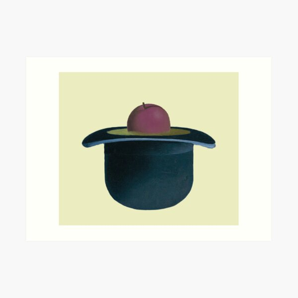 A single plum floating in perfume served in a man's hat Art Print