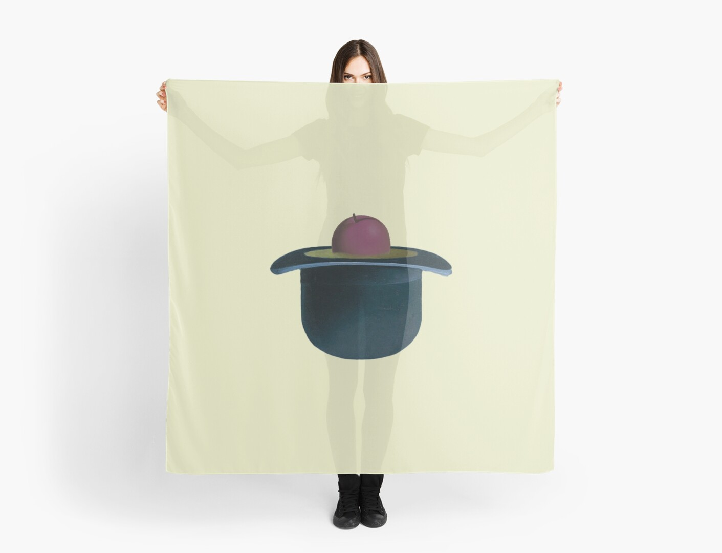 A single plum floating in perfume served in a man s hat